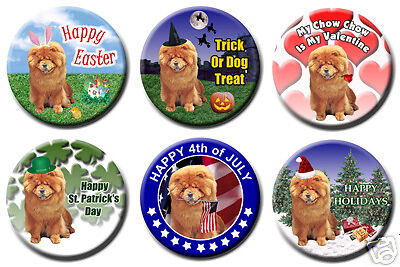 CHOW CHOW Set Of 6 HOLIDAY BADGES BUTTONS Dog Adorable