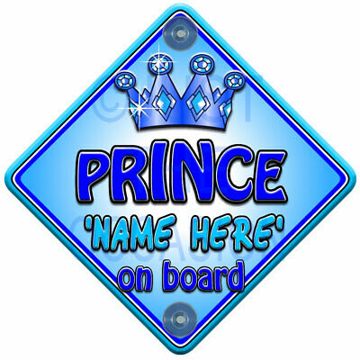 NEW Personalised   BLUE TROPHY PRINCE   Baby On Board Car Window Sign Decal