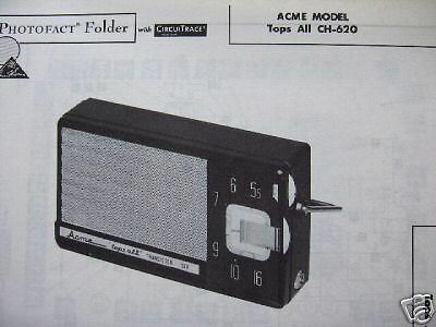 ACME TOPS ALL CH-620 TRANSISTOR RADIO PHOTOFACT