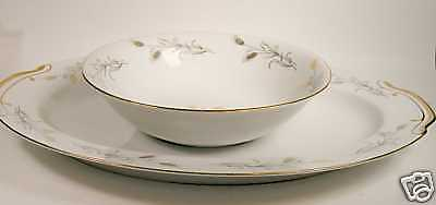 Empress China Gold Wheat Serving Platter and Bowl