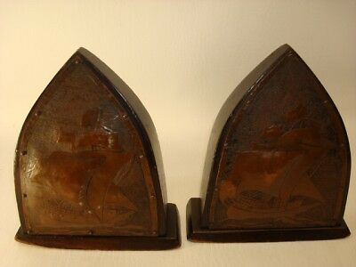 Arts & Grafts Mission Copper Wood Nautical Book Ends