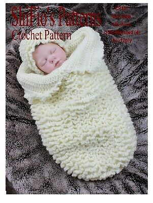 CROCHET PATTERN for BABY COCOON PAPOOSE & HAT #127 By ShiFio Patterns