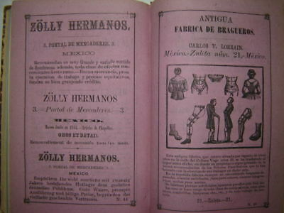 1870 Mexican Almanac + Guide with folding map. Mexico