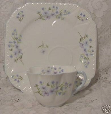 SHELLEY PORCELAIN CUP SAUCER SQUARE SANDWICH PLATE blue rock pattern