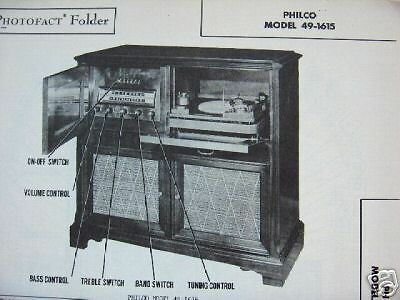 Philco 49-1615 Phonograph Radio Photofact