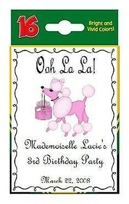 Pink Poodle in Paris Birthday Party CRAYON Box Labels