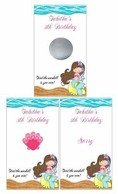 Little Mermaid Birthday Party Scratch Off Card Game