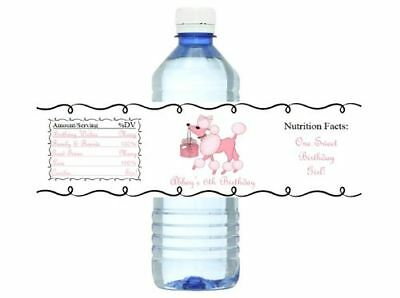 Pink Poodles in Paris Drink Labels (10ct) Birthday Party WATER Bottle Labels