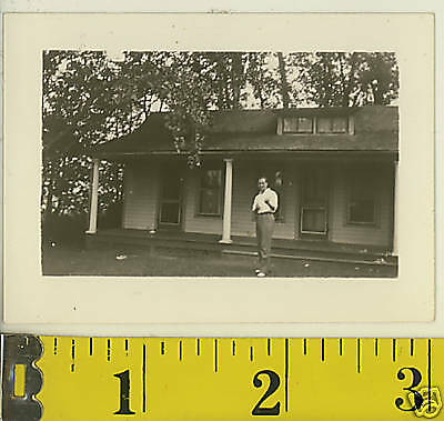 Vintage 40s Small 3x2 PHOTO MAN IN FRONT OF HOUSE