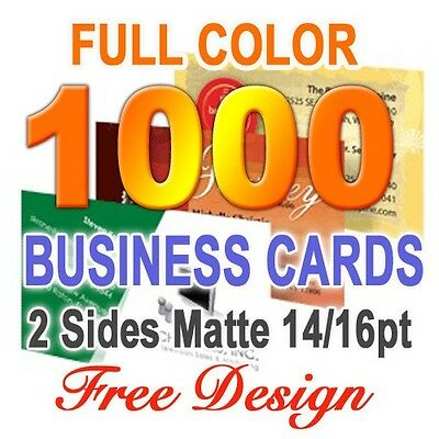 1000 Business Cards Matte 2 sided & Free Custom Design