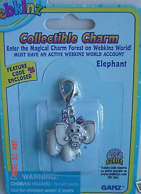 Webkinz Elephant Collectible Charm VHTF NEW With CODE