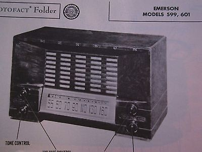 Emerson 599 & 601 Radio Photofact