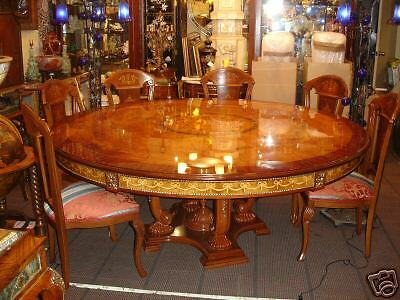 marquetry inlaidWood Inlaid Dining Room Set W/ 8 CHAIRS