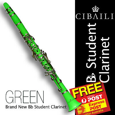 GREEN CIBAILI Bb CLARINET • Case and Accessories • Best Quality •  Brand New •