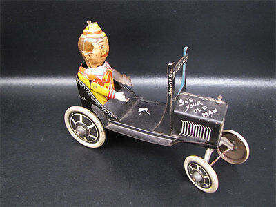 Early Marx Tin Litho Funny Flivver Wind Up Car
