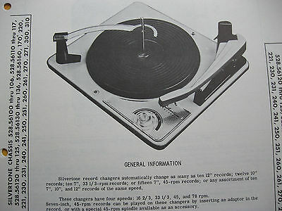 SILVERTONE CHAS.ser. 528 CHANGER TURNTABLE PHOTOFACT #2