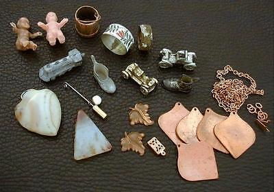Group of Antique/Estate Charms, Jewelry, Rings, Stones
