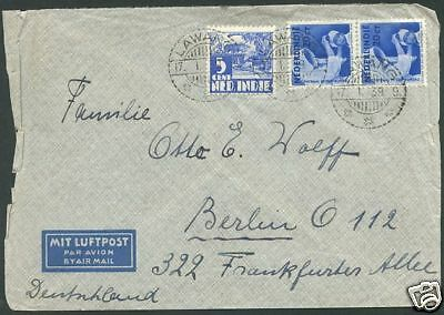DUTCH INDIA TO GERMANY Air Mail Cover 1939 VF