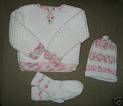 NEW Boutique Style Hand Knit Baby Set