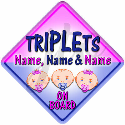Personalised TRIPLETS for 2 GIRLS & 1 BOY Baby Face on Board Car Window Sign