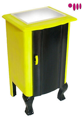 1940s Baroque bedside table yellow and black with plexiglass top - MY 02