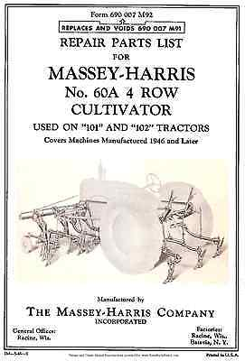 Massey Harris Model No. 60A  Four 4 Row Cultivator Parts manual