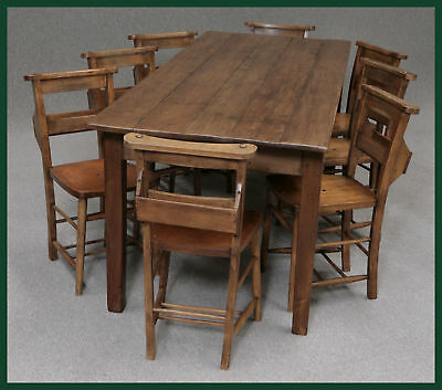 "LARGE FRENCH FARMHOUSE PINE TABLE 8 ft  6"" & 8 CHAIRS"