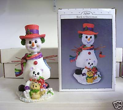 Snowman Christmas Bobble BELLY Bobblehead w/ Cat & Bear