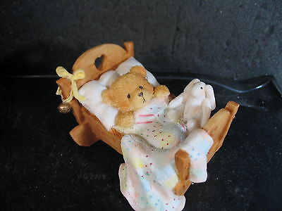 Cherished Teddies CRADLED WITH LOVE BABY BEAR CRIB  #91156