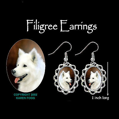SAMOYED DOG - SILVER FILIGREE EARRINGS Jewelry