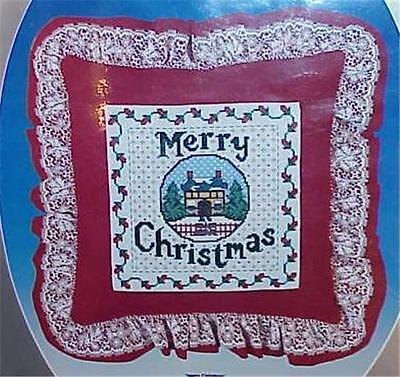 Christmas Counted Cross Stitch Pillow Kit w/ Lace  New