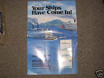 1989 Steamboat Stamps Poster, US Postal Service