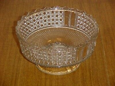 EAPG CLEAR THREE PANEL SCROLLED RIM FOOTED OPEN BOWL