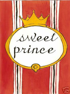 RED! SWEET PRINCE!  Birth announcement set of 12 cards
