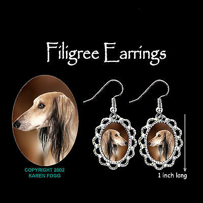 SALUKI DOG  - SILVER FILIGREE EARRINGS Jewelry