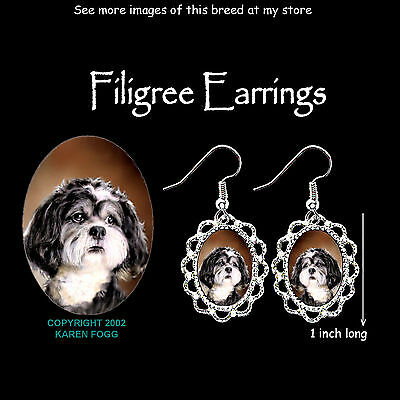 SHIH TZU DOG Pet Cut - SILVER FILIGREE EARRINGS Jewelry