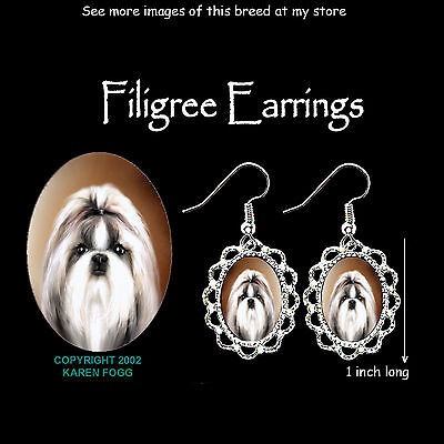 SHIH TZU DOG Show Cut - SILVER FILIGREE EARRINGS Jewelry