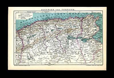 Algeria Tunesia Sahara North Africa - Antique Map 1905
