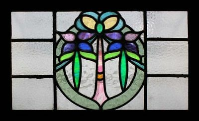Fabulous Art Nouveau Floral Antique English Stained Glass Window