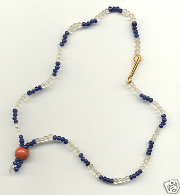 Blue and Clear Czech glass Mardi Gras beads lg. red ctr