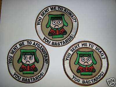 a0222-3 You sent me to (1each) Iraq Afghanistan Kuwait set of 3 patches