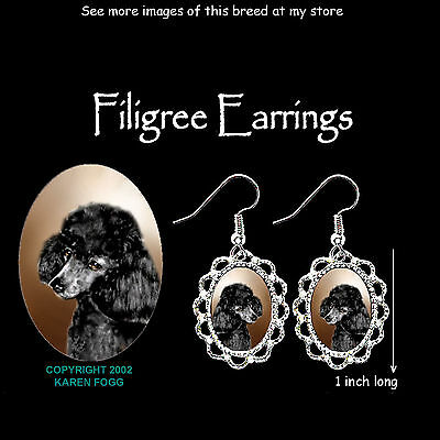 POODLE DOG Mini Black - SILVER FILIGREE EARRINGS Jewelry