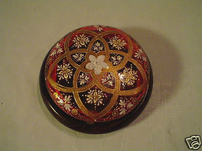 RARE 19th C. ROSEWOOD  & MOSER BOHEMIAN CRANBERRY ART GLASS GILT ENAMELED BOX