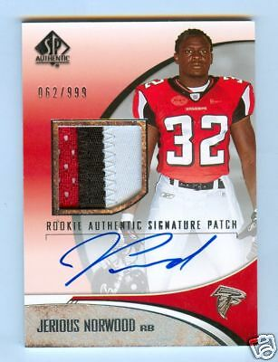 JERIOUS NORWOOD 2006 SP AUTHENTIC AUTO 3CLR PATCH /999
