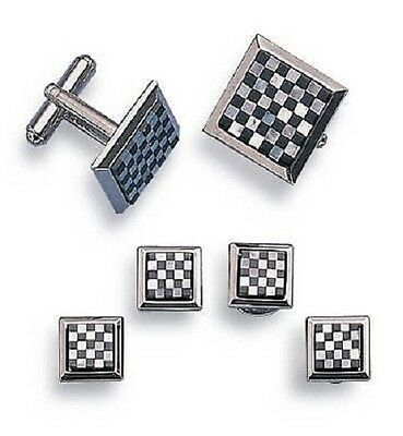 Checkmate Cufflinks and Studs Silver Finish