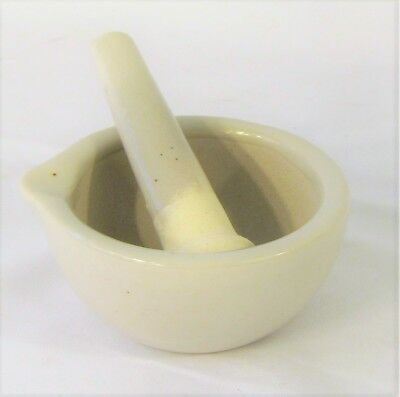 "Small porcelain mortar and pestle 3"" lab kitchen New"