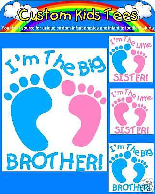 Two Custom Infant Toddler T-shirts Brother Sister Feet