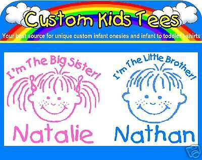 Two Custom Infant. Baby Kids Toddler T-shirts Brother Sister Faces Personalized!