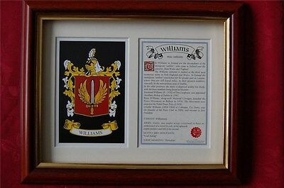 WILLIAMS Family FRAMED Heraldic Coat of Arms Crest + History