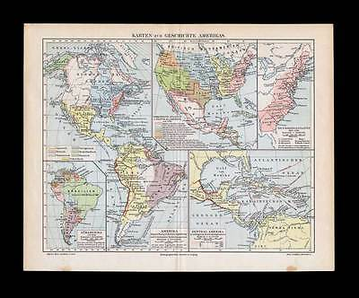 HISTORY OF AMERICA - Historical Map 1896